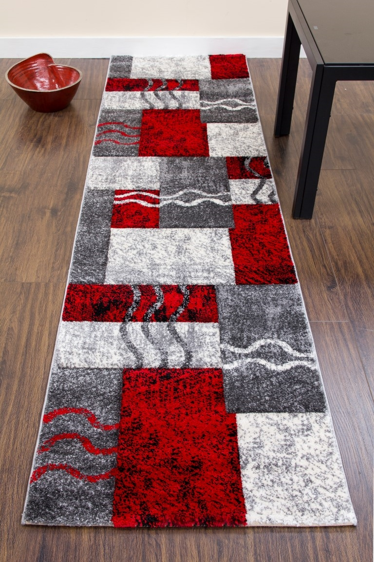 Primo Runner Rug E335a Grey Red