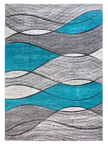 Impulse Waves Geometric Rug - Grey / Teal