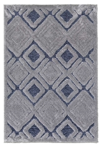 finesse motif high-low shaggy grey rug