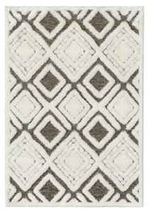 finesse motif high-low shaggy brown cream rug