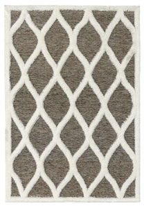 finesse tear drop high-low shaggy brown cream rug
