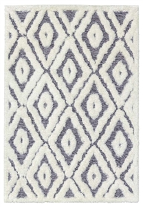 finesse diamond high-low shaggy grey cream rug