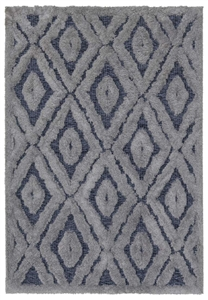 finesse diamond high-low shaggy grey rug