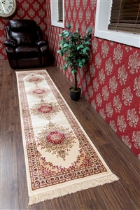 Kashmir Traditional Cream/Red Runner Rug - 12836