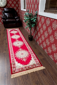 Kashmir Traditional Red Cream Runner Rug - 12836