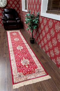 Kashmir Traditional Red Cream Runner Rug - 22830