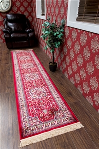 kashmir traditional red runner rug - 12802