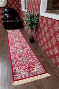 kashmir traditional red cream runner rug - 12800