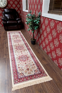 kashmir traditional cream red runner rug - 12802