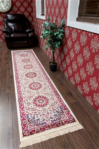 kashmir traditional cream runner rug - 12800