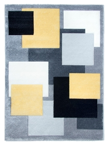 Tempo Square Rug - Black/Grey/Yellow