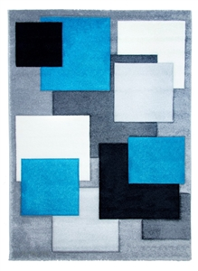 Tempo Square Rug - Black/Grey/Teal
