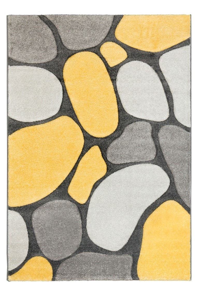 Pebbles Modern Rug Grey Yellow