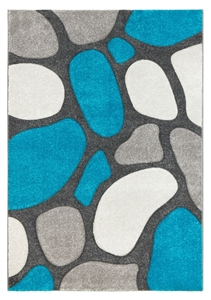 Pebbles Modern Rug Teal Gray
