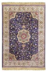 kashmir blue cream rug