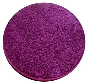 purple round shaggy rug