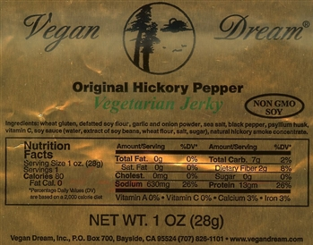 Vegan Dream Hickory Pepper Vegan Jerky Single Serving.
