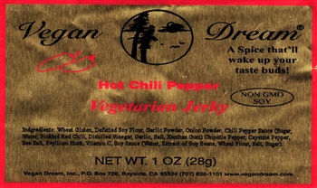 Vegan Dream Hot Chili Vegan Jerky Single Serving.
