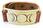 TRIPLE MOON LEATHER BAND BRACELET