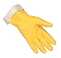 "MCR 5250 Yellow 15 Mil 12"" Unsupported Latex Flock Lined Glove With Scalloped Cuff"