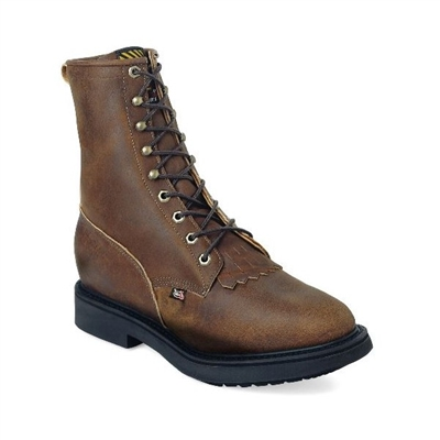 "Justin 764 8"" Aged Bark Lace Up Work Boot"