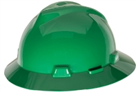 MSA 454735 Green V-Gard Slotted Hard Hat With Staz-On Suspension