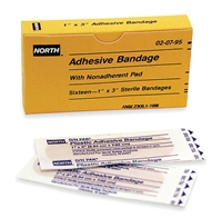 "North Safety 020795 1"" x 3"" Plastic Adhesive Bandages - Unit Refill 16/Unit"