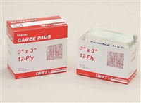 "North Safety 067433 3"" x 3"" 12-Ply Sterile Gauze Pads - 10/Box"