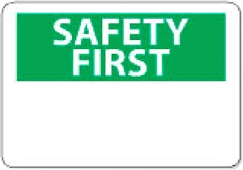 "National Marker SF1PB 10"" x 14"" Pressure Sensitive OSHA Safety First Sign"