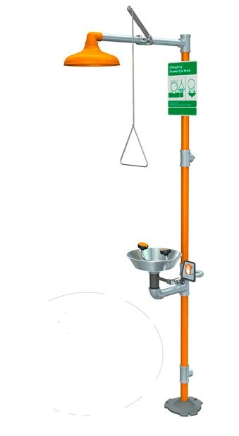 Guardian Equipment G1950 Safety Shower Station With Eye Face Wash   Orange  ABS Plastic Showerhead And Stainless Steel Bowl. Guardian Equipment G1950 Safety Shower Station With Eye Face Wash