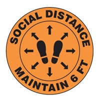 Accuform MFS384 Slip-Gard Floor Sign: Social Distance Maintain 6 FT (Footprint Image)