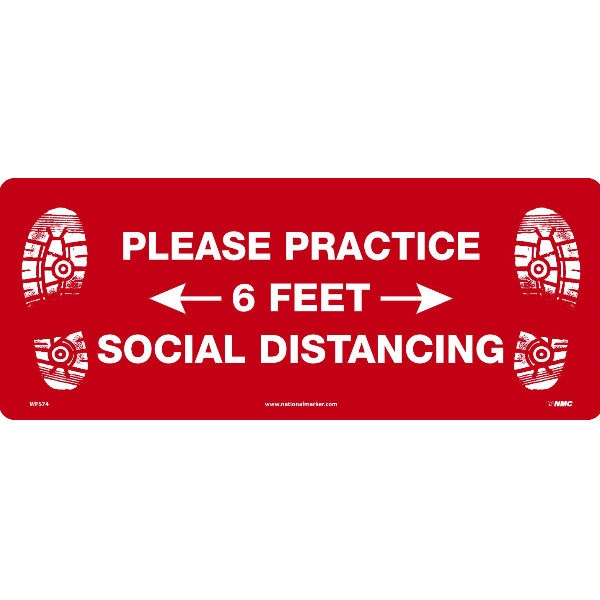 National Marker Wfs74tx Practice Social Distancing Walk On