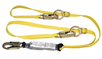 MSA 10072473 Twin Leg Tie-Back Workman Shock-Absorbing Lanyard With LC Harness Connection And (2) LC Anchorage Connection