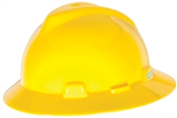MSA 454730 Yellow V-Gard Slotted Hard Hat With Staz-On Suspension