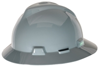 MSA 454731 Gray V-Gard Slotted Hard Hat With Staz-On Suspension