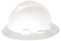 MSA 454733 White V-Gard Slotted Hard Hat With Staz-On Suspension