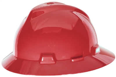 MSA 454736 Red V-Gard Slotted Hard Hat With Staz-On Suspension