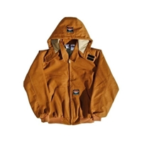 RASCO BJFQ2206 Flame Resistant Brown Duck Hooded Jacket With Quilted Lining
