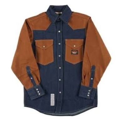 RASCO FDD2000 10 Oz Denim-Duck Fire Retardant Long Sleeve Western Style Shirt
