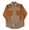 RASCO FKD2001 10 Oz Khaki-Duck Fire Retardant Long Sleeve Western Style Shirt