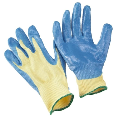 Seattle Glove K20B 100% Kevlar String Knit Cut Resistant Glove - Dots On Both Side - Blue Nitrile Palm