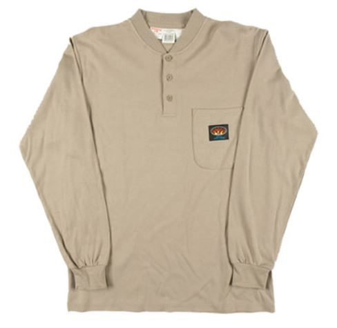 5bb86b4540aa RASCO KTF452 Khaki Fire Retardant Long Sleeve Cotton Henley