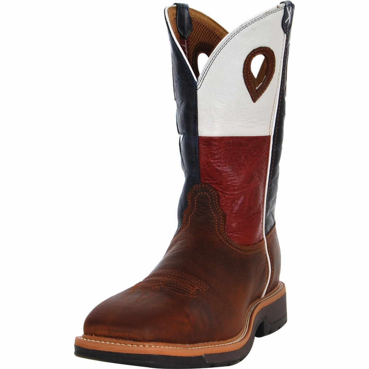 10997e25095 Twisted X MLCS007 Men's Lite Cowboy Steel Toe Work Boot With Texas Flag