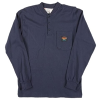 RASCO NTF453 Navy Fire Retardant Long Sleeve Cotton Henley