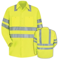 Red Kap SS14AB Yellow Hi-Visibility Work Shirt Class 3 Level 2