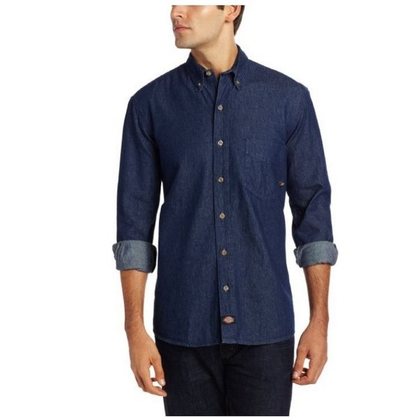 20287a894ee Dickies WL300 8 Oz Denim Button-Down Long Sleeve Shirt