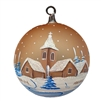 German Handpainted Ball With Winter Scenes - Church & Cabin