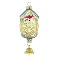 Blown Glass Cuckoo Clock With Bell Ornament