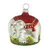 White & Red Elephant Ornament