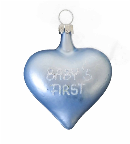 Baby Boy's First Christmas Blue Heart